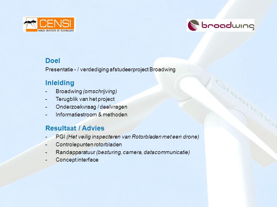 Doel Presentatie - / verdediging afstudeerproject Broadwing Inleiding -Broadwing (omschrijving) -Terugblik van het project -Onderzoekvraag / deelvrage