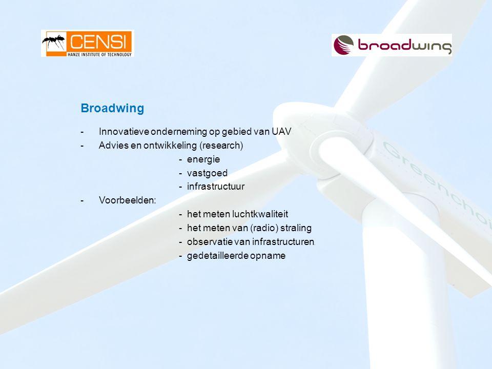 Broadwing -Innovatieve onderneming op gebied van UAV -Advies en ontwikkeling (research) - energie - vastgoed - infrastructuur -Voorbeelden: - het mete