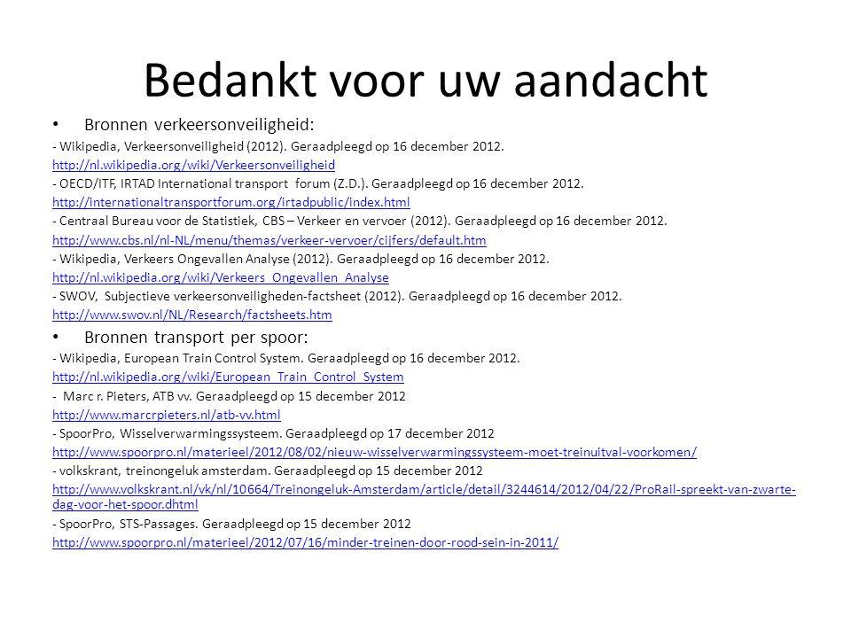 Bedankt voor uw aandacht • Bronnen verkeersonveiligheid: - Wikipedia, Verkeersonveiligheid (2012).
