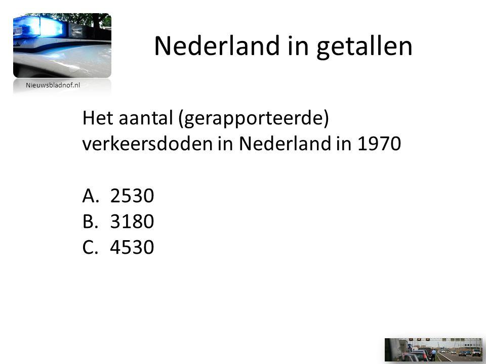 Nederland in getallen Het aantal (gerapporteerde) verkeersdoden in Nederland in 1970 A.