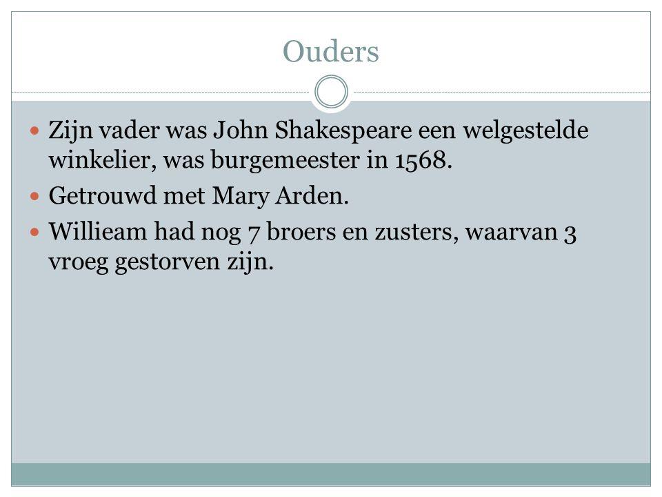 Ouders  Zijn vader was John Shakespeare een welgestelde winkelier, was burgemeester in 1568.  Getrouwd met Mary Arden.  Willieam had nog 7 broers e