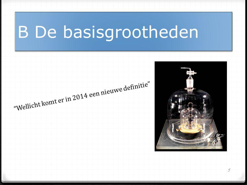 5 B De basisgrootheden Wellicht komt er in 2014 een nieuwe definitie