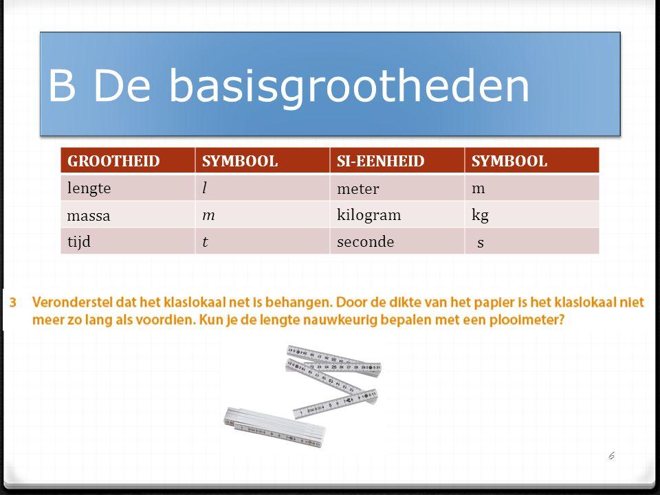 GROOTHEIDSYMBOOLSI-EENHEIDSYMBOOL lengtelm mkilogramkg tijdtseconde 6 B De basisgrootheden meter massa s