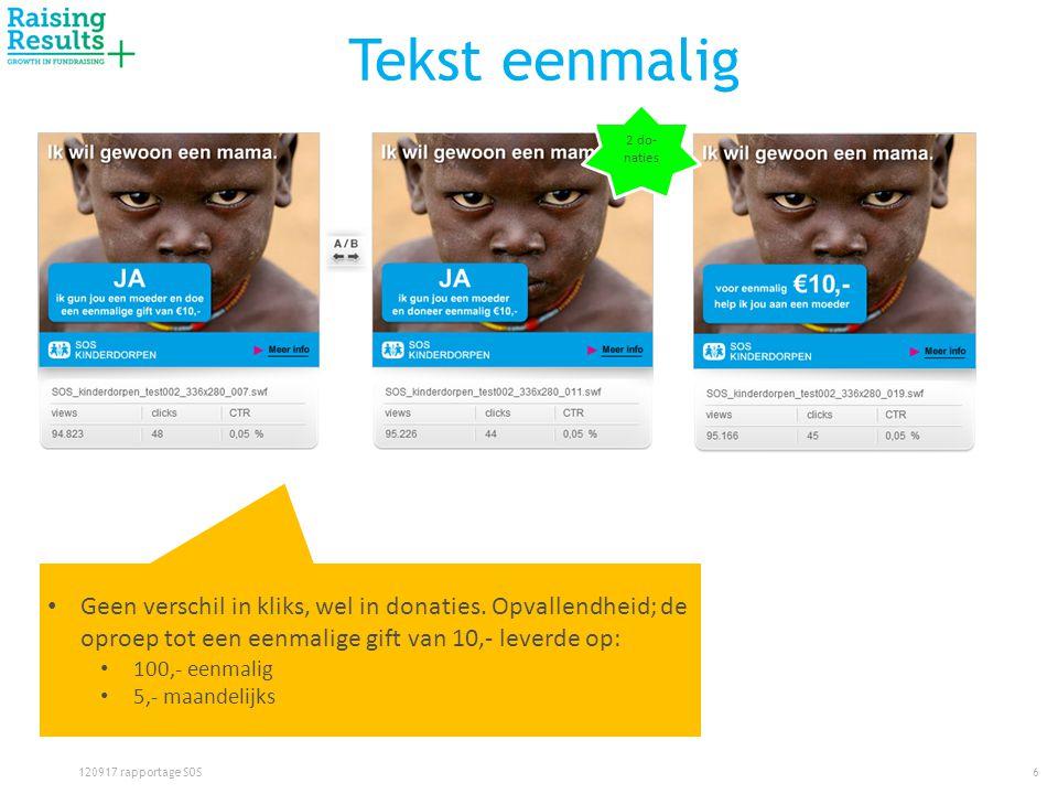 Tekst eenmalig 6120917 rapportage SOS • Geen verschil in kliks, wel in donaties.