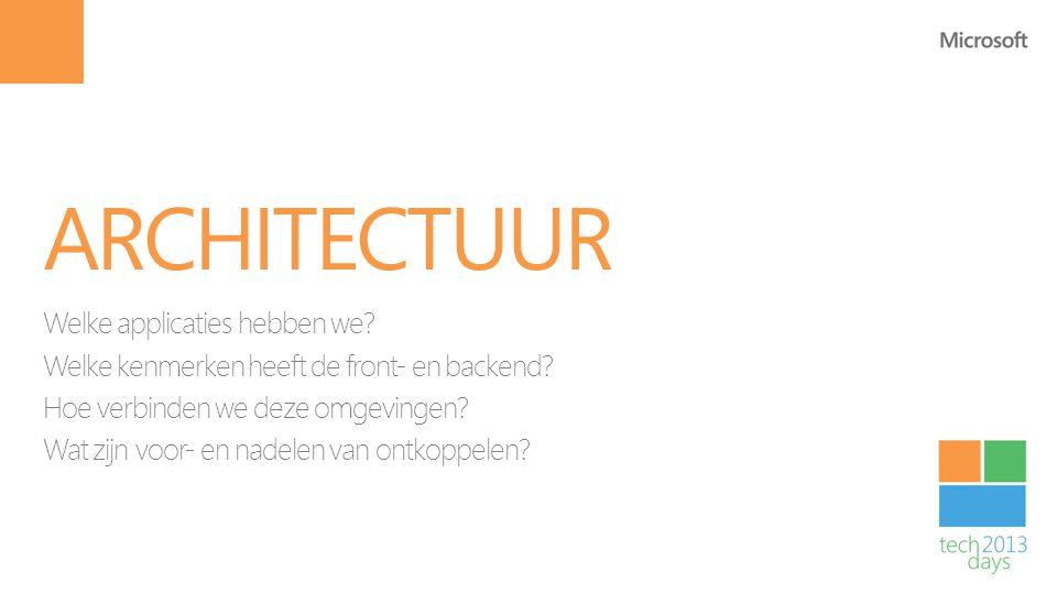 ARCHITECTUUR Welke applicaties hebben we? Welke kenmerken heeft de front- en backend? Hoe verbinden we deze omgevingen? Wat zijn voor- en nadelen van