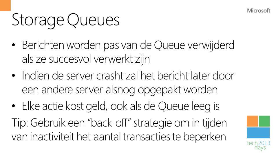 Storage Queues • Berichten worden pas van de Queue verwijderd als ze succesvol verwerkt zijn • Indien de server crasht zal het bericht later door een