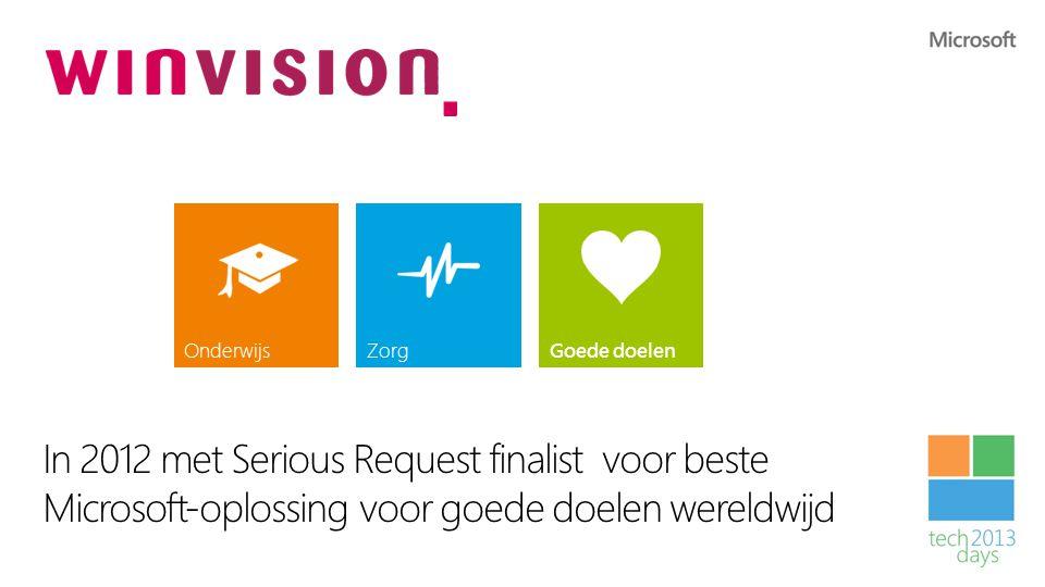 Winvision In 2012 met Serious Request finalist voor beste Microsoft-oplossing voor goede doelen wereldwijd OnderwijsZorgGoede doelen