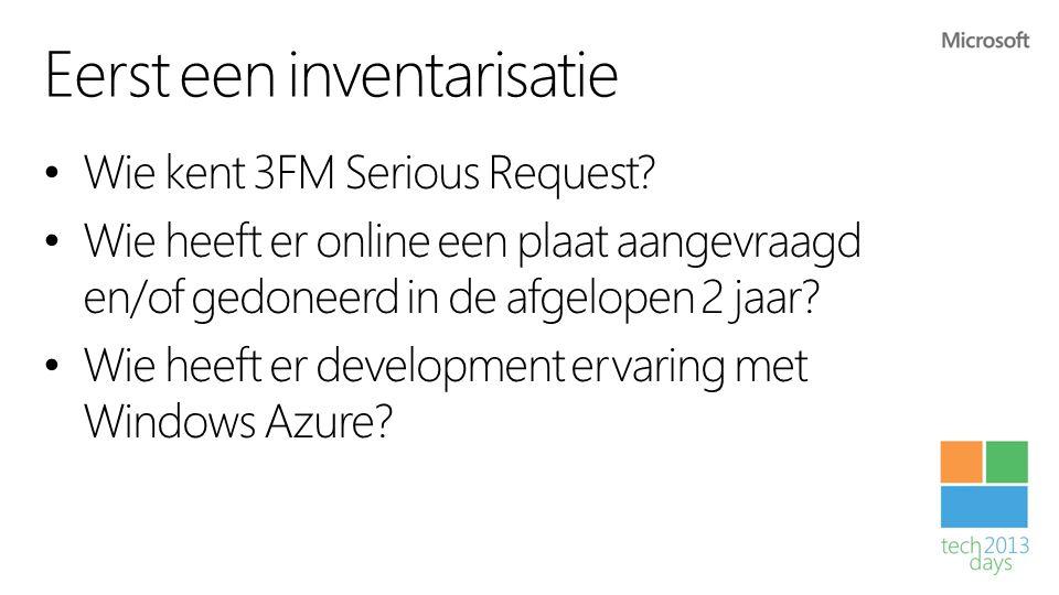 Eerst een inventarisatie • Wie kent 3FM Serious Request? • Wie heeft er online een plaat aangevraagd en/of gedoneerd in de afgelopen 2 jaar? • Wie hee
