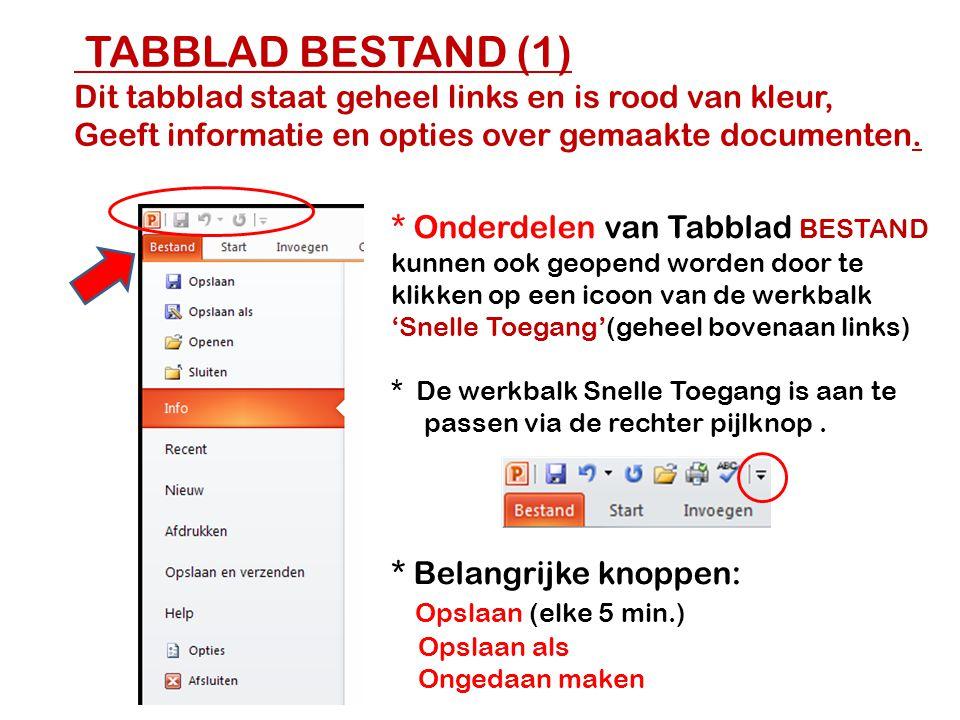 TABBLAD BESTAND (1) Dit tabblad staat geheel links en is rood van kleur, Geeft informatie en opties over gemaakte documenten. * Onderdelen van Tabblad
