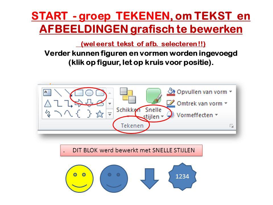 START - groep TEKENEN, om TEKST en AFBEELDINGEN grafisch te bewerken (wel eerst tekst of afb. selecteren !!) Verder kunnen figuren en vormen worden in