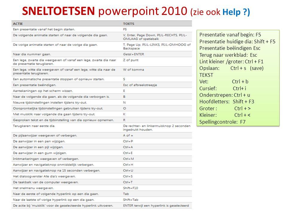 SNELTOETSEN powerpoint 2010 (zie ook Help ?) Presentatie vanaf begin: F5 Presentatie huidige dia: Shift + F5 Presentatie beëindigen Esc Terug naar wer