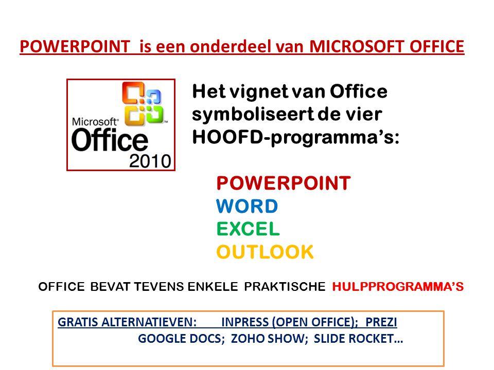 Openen van PowerPoint: Start / alle programma's / Microsoft Office/ (Of via snelkoppeling op Bureaublad) Inzien van PowerPoint bestand: PowerPoint Viewer OFFICE 2010: TOEGEVOEGDE (HULP)PROGRAMMA'S OM GOED MET POWERPOINT TE KUNNEN WERKEN, KAN OFFICE versie 10 HET BESTE COMPLEET WORDEN GEÏNSTALLEERD dus met de hulpprogramma's