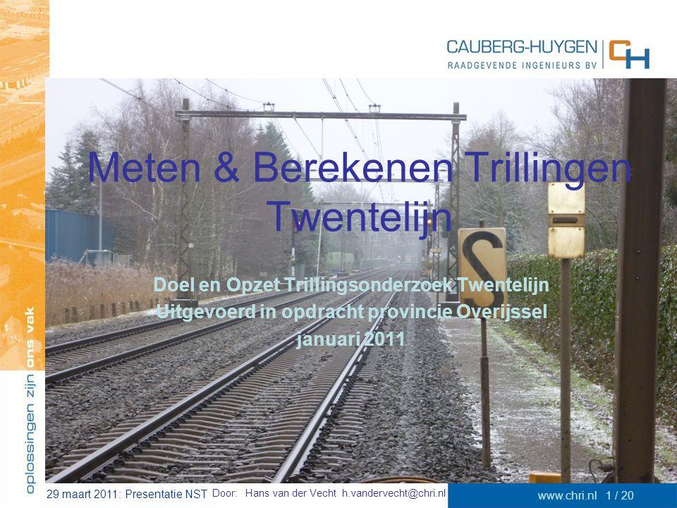 29 maart 2011: Presentatie NST www.chri.nl1 / 20 Meten & Berekenen Trillingen Twentelijn Doel en Opzet Trillingsonderzoek Twentelijn Uitgevoerd in opd