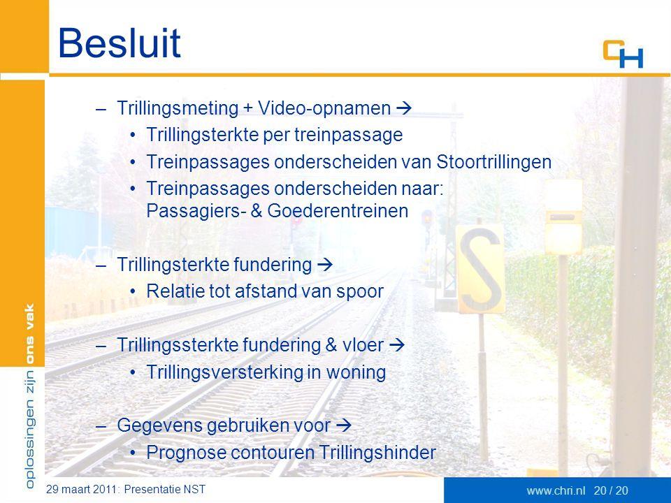 29 maart 2011: Presentatie NST www.chri.nl20 / 20 Besluit –Trillingsmeting + Video-opnamen  •Trillingsterkte per treinpassage •Treinpassages ondersch