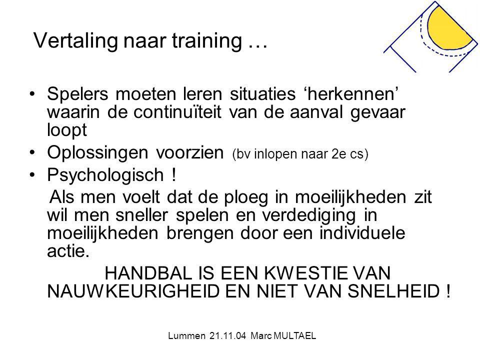 Lummen 21.11.04 Marc MULTAEL Vertaling naar training … •Spelers moeten leren situaties 'herkennen' waarin de continuïteit van de aanval gevaar loopt •