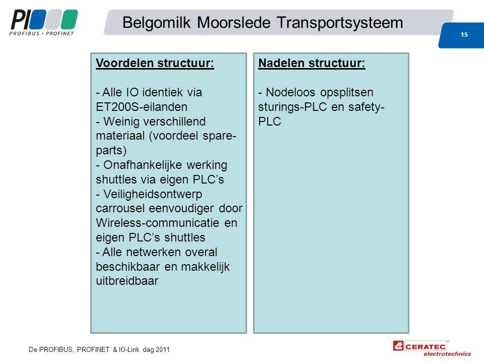 De PROFIBUS, PROFINET & IO-Link dag 2011 Belgomilk Moorslede Transportsysteem 15 Voordelen structuur: - Alle IO identiek via ET200S-eilanden - Weinig verschillend materiaal (voordeel spare- parts) - Onafhankelijke werking shuttles via eigen PLC's - Veiligheidsontwerp carrousel eenvoudiger door Wireless-communicatie en eigen PLC's shuttles - Alle netwerken overal beschikbaar en makkelijk uitbreidbaar Nadelen structuur: - Nodeloos opsplitsen sturings-PLC en safety- PLC