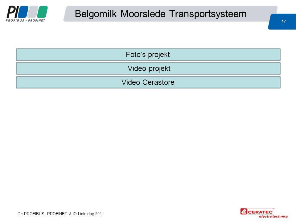 De PROFIBUS, PROFINET & IO-Link dag 2011 Belgomilk Moorslede Transportsysteem 17 Foto's projekt Video projekt Video Cerastore