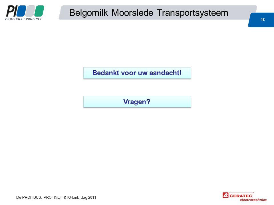 De PROFIBUS, PROFINET & IO-Link dag 2011 Belgomilk Moorslede Transportsysteem 18