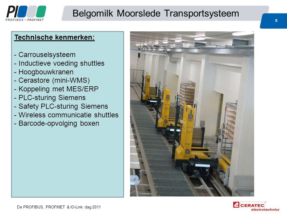 De PROFIBUS, PROFINET & IO-Link dag 2011 Belgomilk Moorslede Transportsysteem 8 Technische kenmerken: - Carrouselsysteem - Inductieve voeding shuttles - Hoogbouwkranen - Cerastore (mini-WMS) - Koppeling met MES/ERP - PLC-sturing Siemens - Safety PLC-sturing Siemens - Wireless communicatie shuttles - Barcode-opvolging boxen