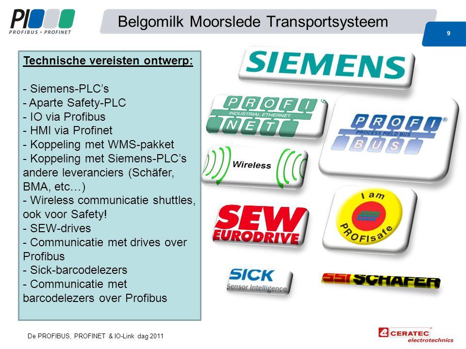 De PROFIBUS, PROFINET & IO-Link dag 2011 Belgomilk Moorslede Transportsysteem 9 Technische vereisten ontwerp: - Siemens-PLC's - Aparte Safety-PLC - IO via Profibus - HMI via Profinet - Koppeling met WMS-pakket - Koppeling met Siemens-PLC's andere leveranciers (Schäfer, BMA, etc…) - Wireless communicatie shuttles, ook voor Safety.
