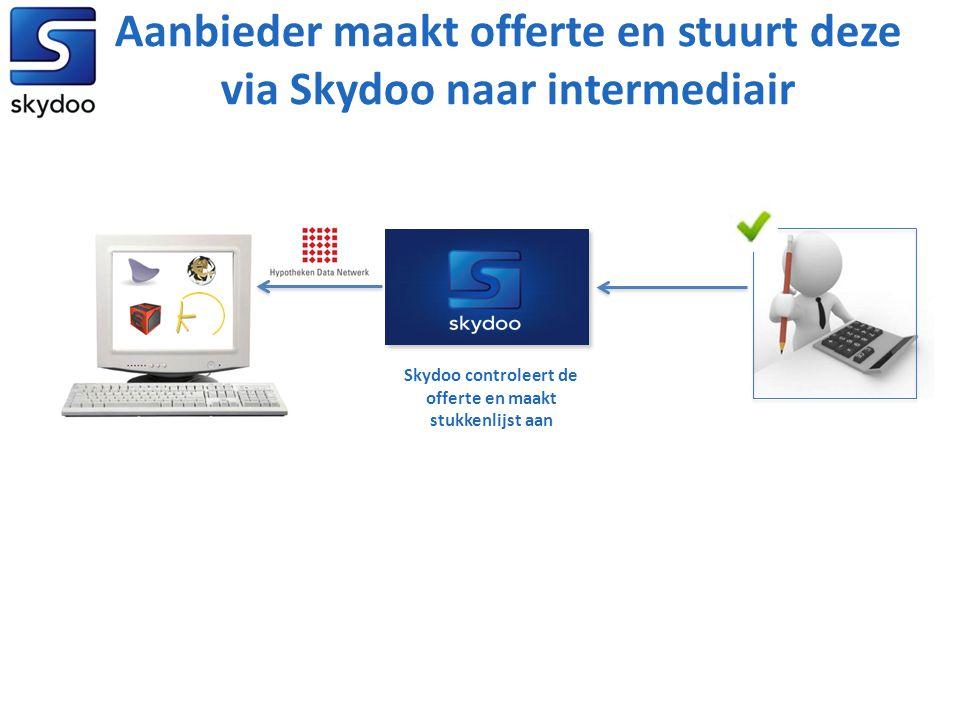 Aanbieder maakt offerte en stuurt deze via Skydoo naar intermediair Skydoo controleert de offerte en maakt stukkenlijst aan