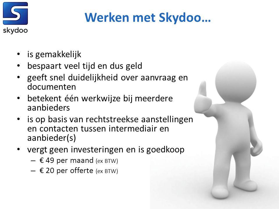 Werken met Skydoo… • is gemakkelijk • bespaart veel tijd en dus geld • geeft snel duidelijkheid over aanvraag en documenten • betekent één werkwijze b
