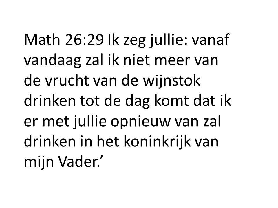 Math 26:29 Ik zeg jullie: vanaf vandaag zal ik niet meer van de vrucht van de wijnstok drinken tot de dag komt dat ik er met jullie opnieuw van zal dr