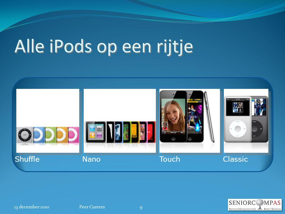 Alle iPods op een rijtje 13 december 2010 ShuffleNano TouchClassic 9Peer Custers