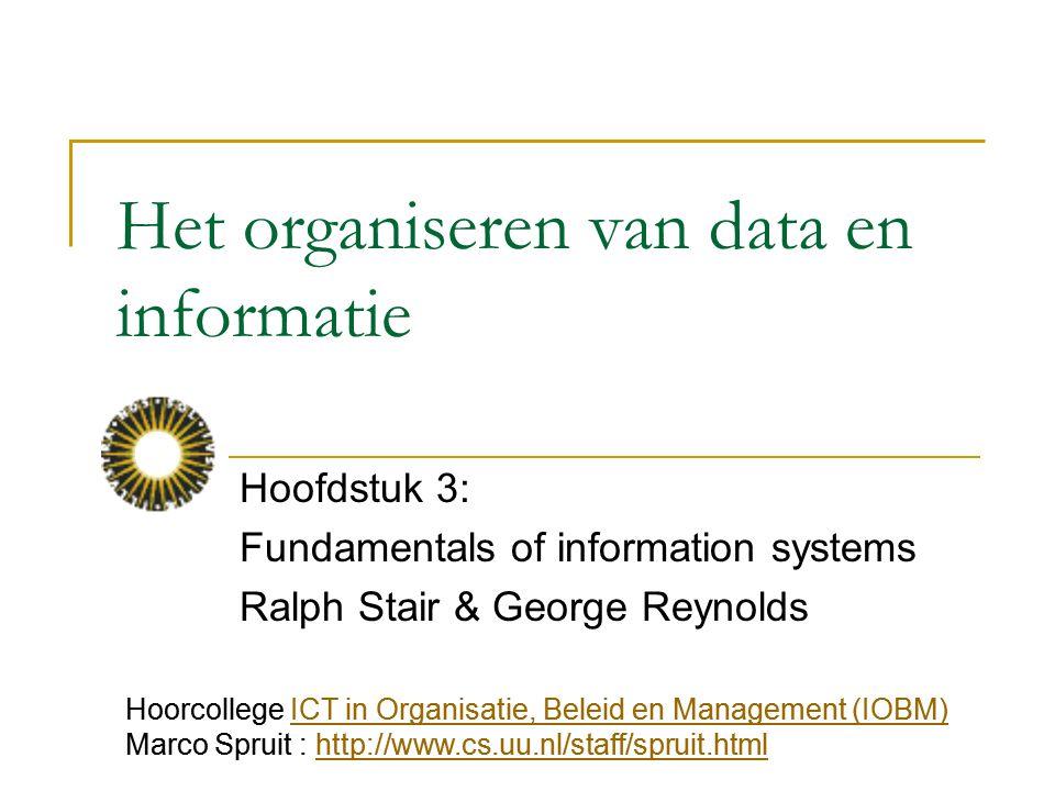 Het organiseren van data en informatie Hoofdstuk 3: Fundamentals of information systems Ralph Stair & George Reynolds Hoorcollege ICT in Organisatie,
