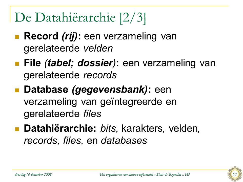 dinsdag 16 december 2008 Het organiseren van data en informatie :: Stair & Reynolds :: H3 12 De Datahiërarchie [2/3]  Record (rij): een verzameling v