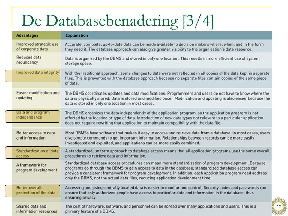 dinsdag 16 december 2008 Het organiseren van data en informatie :: Stair & Reynolds :: H3 19 De Databasebenadering [3/4] Tabel 3.1: Voordelen van de d