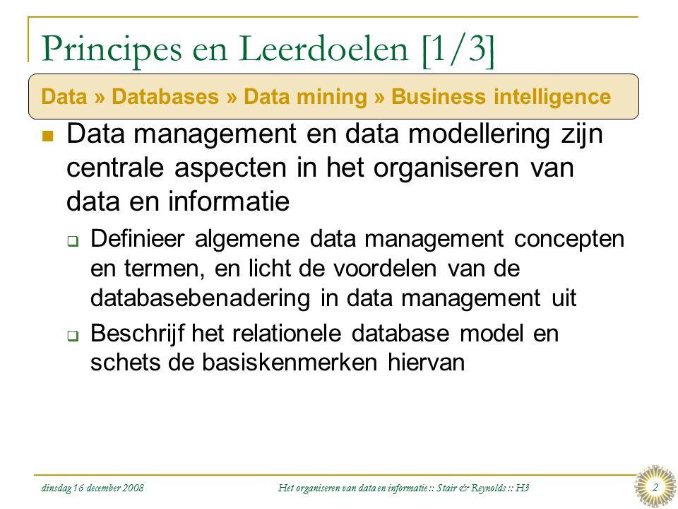 dinsdag 16 december 2008 Het organiseren van data en informatie :: Stair & Reynolds :: H3 2 Principes en Leerdoelen [1/3] Data » Databases » Data mini
