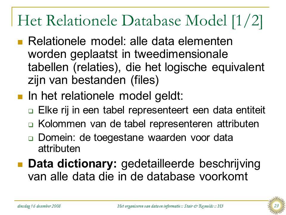 dinsdag 16 december 2008 Het organiseren van data en informatie :: Stair & Reynolds :: H3 23 Het Relationele Database Model [1/2]  Relationele model: