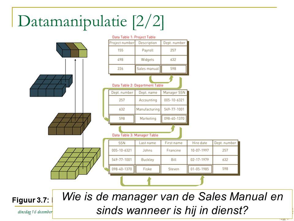 dinsdag 16 december 2008 Het organiseren van data en informatie :: Stair & Reynolds :: H3 26 Datamanipulatie [2/2] Figuur 3.7: Het verbinden van tabel