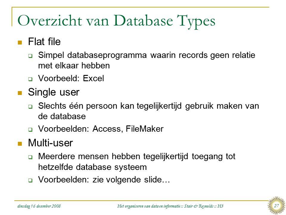 dinsdag 16 december 2008 Het organiseren van data en informatie :: Stair & Reynolds :: H3 27 Overzicht van Database Types  Flat file  Simpel databas