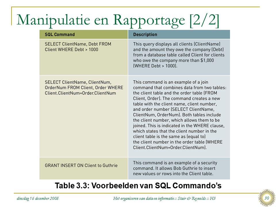 dinsdag 16 december 2008 Het organiseren van data en informatie :: Stair & Reynolds :: H3 30 Manipulatie en Rapportage [2/2] Table 3.3: Voorbeelden va