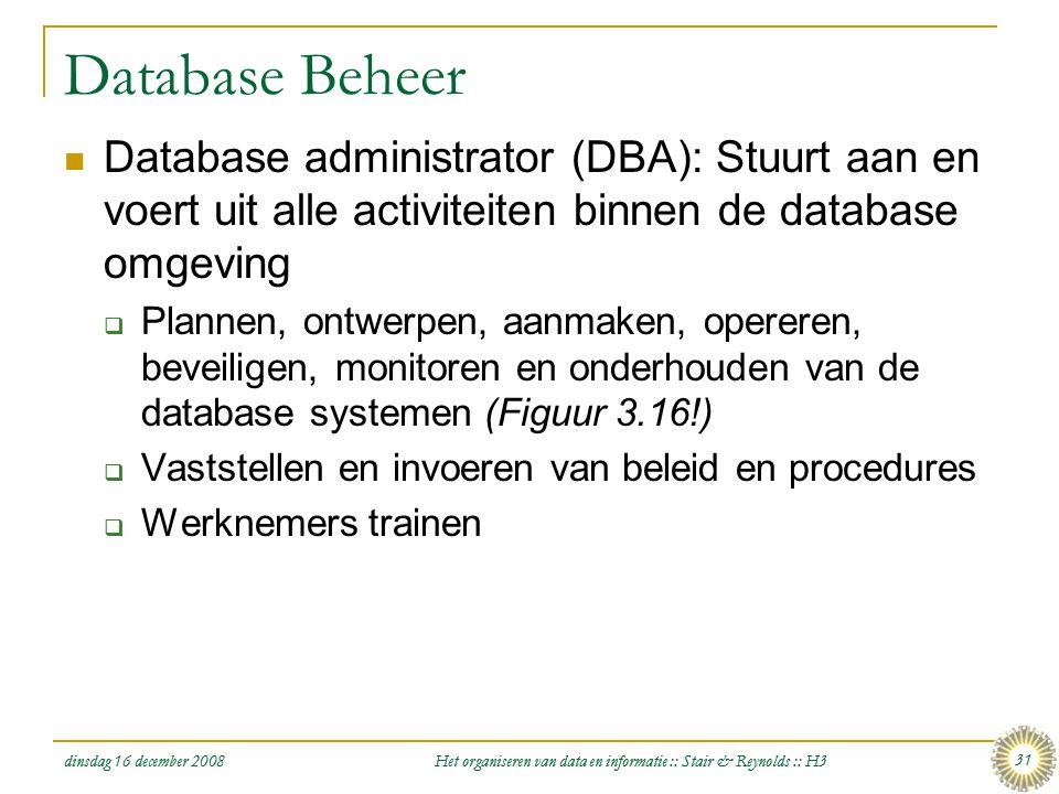 dinsdag 16 december 2008 Het organiseren van data en informatie :: Stair & Reynolds :: H3 31 Database Beheer  Database administrator (DBA): Stuurt aa
