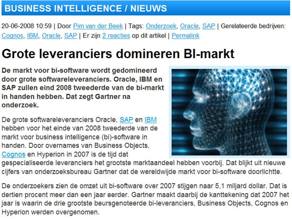dinsdag 16 december 2008 Het organiseren van data en informatie :: Stair & Reynolds :: H3 43 Wie zijn de Business Intelligence leveranciers in 2008 ?