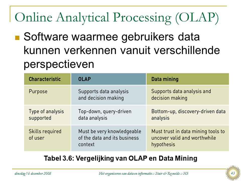 dinsdag 16 december 2008 Het organiseren van data en informatie :: Stair & Reynolds :: H3 45 Online Analytical Processing (OLAP)  Software waarmee ge