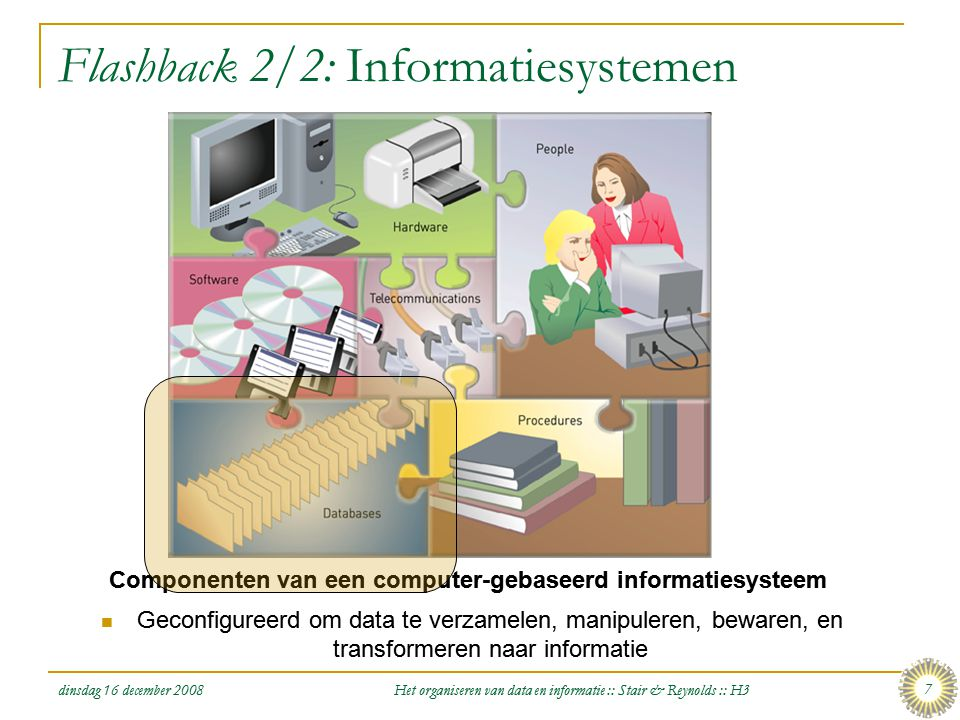 dinsdag 16 december 2008 Het organiseren van data en informatie :: Stair & Reynolds :: H3 18 De Databasebenadering [2/4] Figure 3.3: De databasebenadering van Data Management