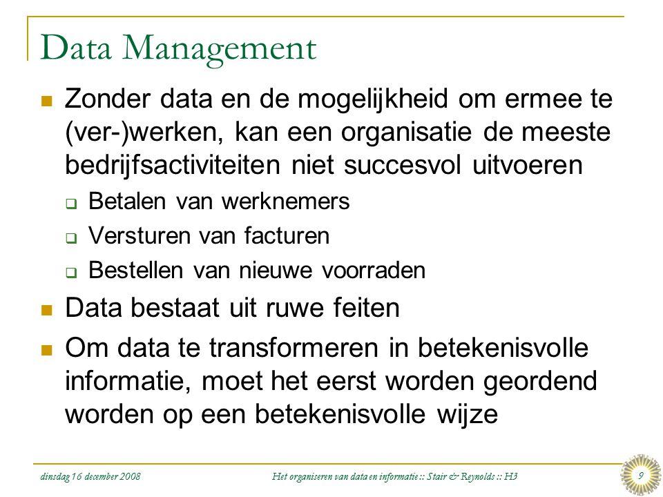 dinsdag 16 december 2008 Het organiseren van data en informatie :: Stair & Reynolds :: H3 9 Data Management  Zonder data en de mogelijkheid om ermee