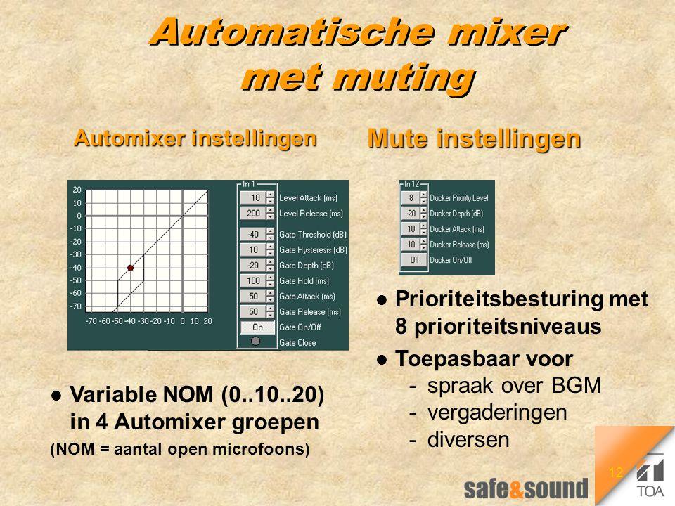 12 Automatische mixer met muting Automixer instellingen l Prioriteitsbesturing met 8 prioriteitsniveaus l Toepasbaar voor -spraak over BGM -vergaderin