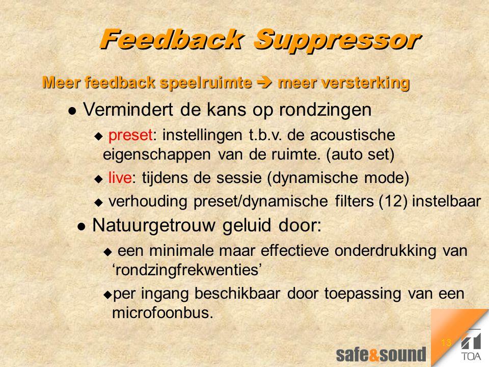 13 Feedback Suppressor Meer feedback speelruimte  meer versterking l Vermindert de kans op rondzingen u preset: instellingen t.b.v. de acoustische ei
