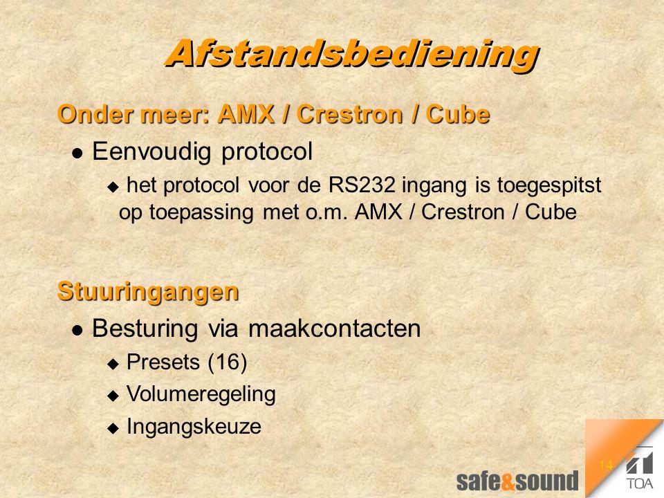 14 Afstandsbediening Onder meer: AMX / Crestron / Cube l Eenvoudig protocol u het protocol voor de RS232 ingang is toegespitst op toepassing met o.m.