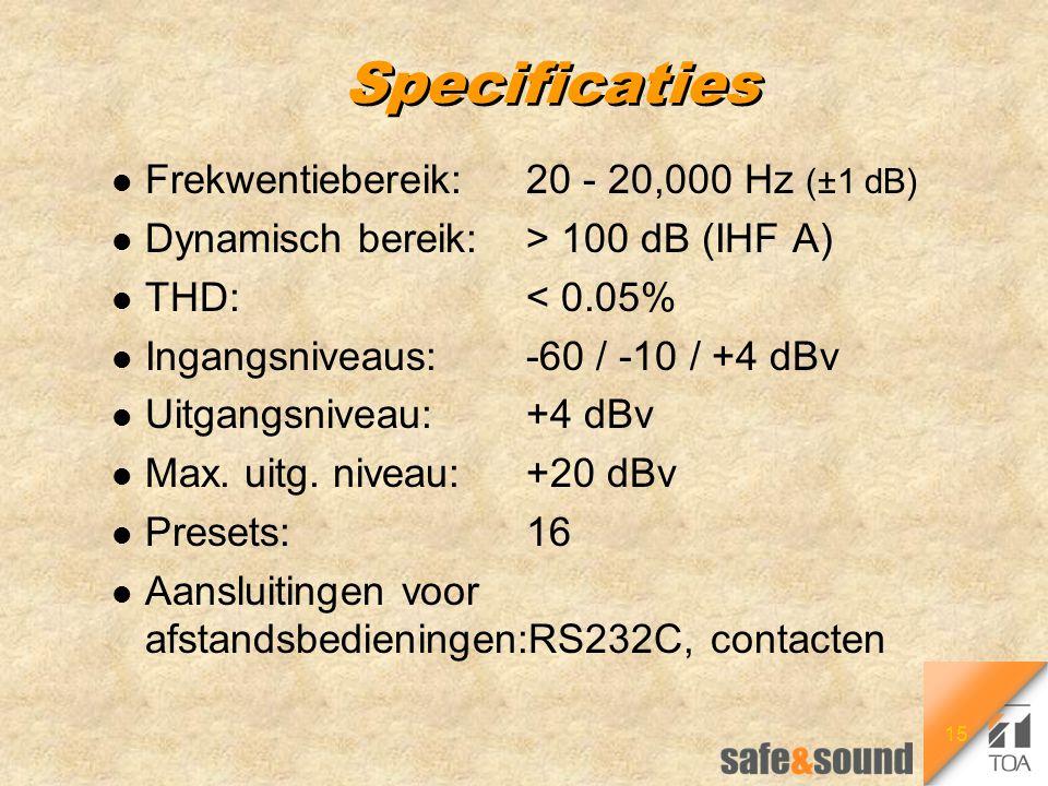 15 Specificaties l Frekwentiebereik:20 - 20,000 Hz (±1 dB) l Dynamisch bereik:> 100 dB (IHF A) l THD:< 0.05% l Ingangsniveaus:-60 / -10 / +4 dBv l Uit