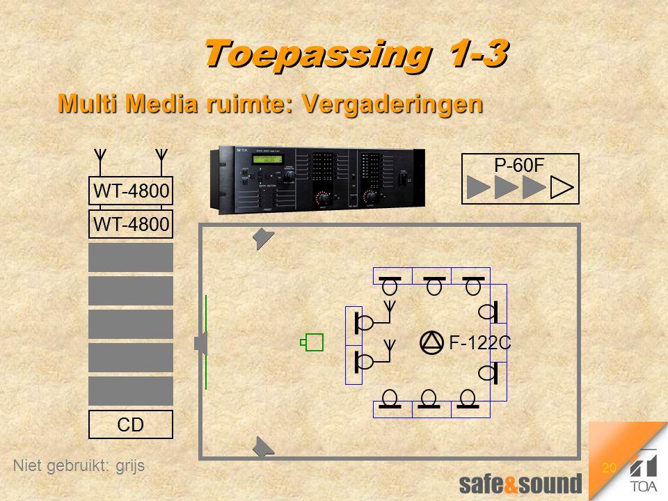 20 P-60F WT-4800 CD DVD Tape Video PC Tape Rec Toepassing 1-3 Multi Media ruimte: Vergaderingen F-122C P-60F WT-4800 CD DVD Tape Video PC Tape Rec Nie
