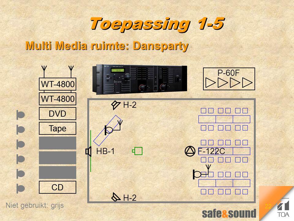 22 WT-4800 CD DVD Tape Video PC Tape Rec Toepassing 1-5 Multi Media ruimte: Dansparty F-122C H-2 HB-1 WT-4800 CD DVD Tape Video PC Tape Rec Niet gebru