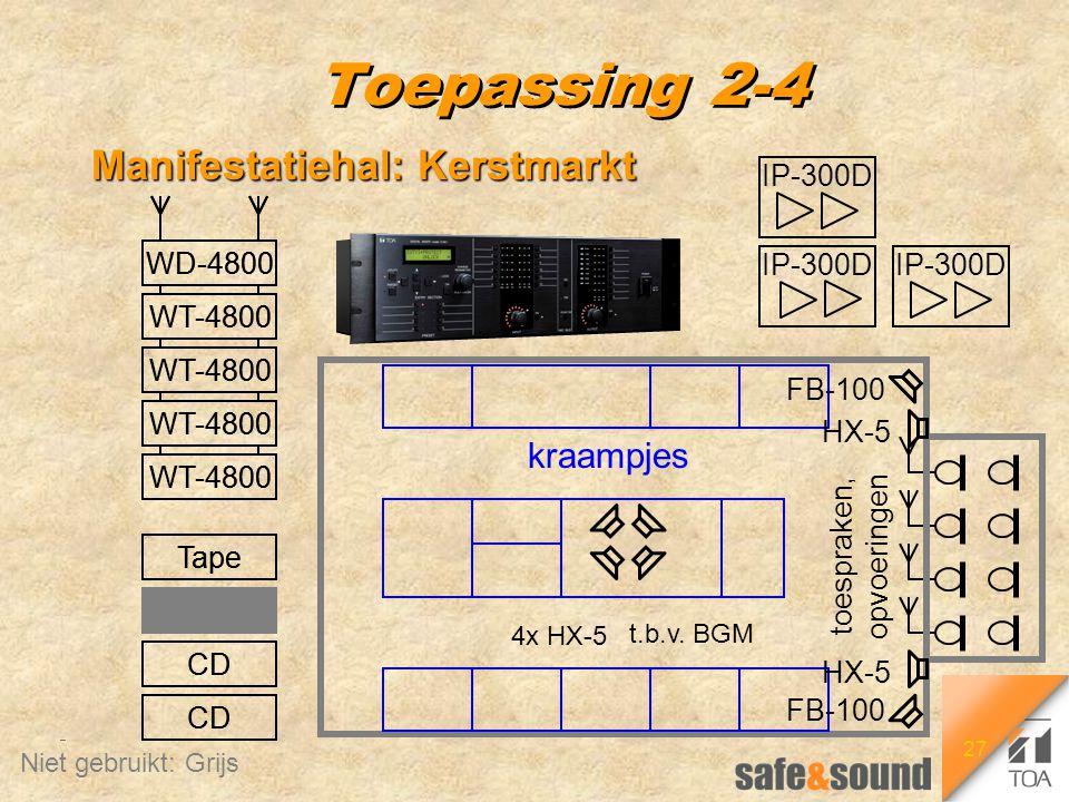 27 CD Tape Tape Rec CD WT-4800 WD-4800 Toepassing 2-4 Manifestatiehal: Kerstmarkt 4x HX-5 HX-5 FB-100 IP-300D kraampjes CD Tape Tape Rec CD WT-4800 WD