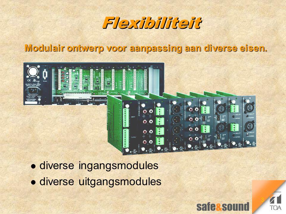 3 Flexibiliteit Modulair ontwerp voor aanpassing aan diverse eisen. l diverse ingangsmodules l diverse uitgangsmodules