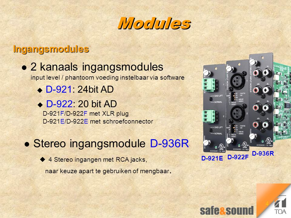 4 Modules Ingangsmodules Ingangsmodules D-921E l 2 kanaals ingangsmodules input level / phantoom voeding instelbaar via software u D-921: 24bit AD u D